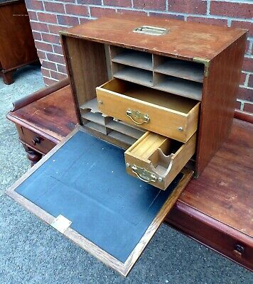 Victorian antique military campaign Arts Crafts solid oak brass writing box desk
