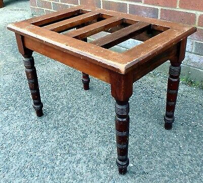 Victorian antique Arts & Crafts solid turned mahogany luggage rack bedside stand