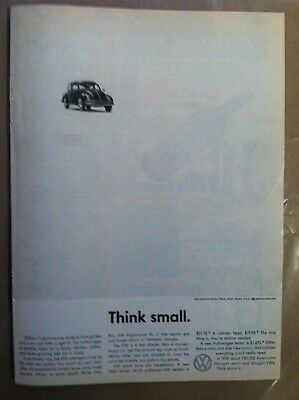 1960 Volkswagen Bug Classic Think Small Original Advertising Ad - Very Rare
