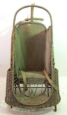 Antique Early 1900s Withrow Mfg ORIOLE GO-BASKET Wicker Baby Stroller Carrier