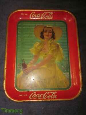 Vintage Original 1938 Coca Cola Serving Metal Tray Lady in The Yellow Dress #FH
