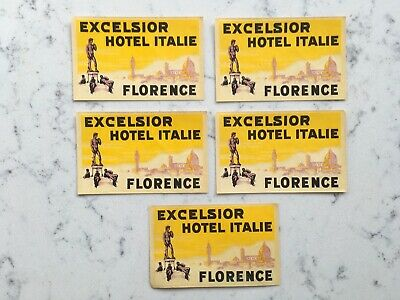 Lot Vintage Excelsior Hotel Italy Florence Luggage Decal Label Travel Sticker
