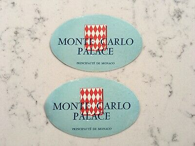 2 Vintage Monte Carlo Palace Monaco Hotel Luggage Decal Label Travel Sticker