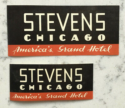 2 Vintage Stevens Chicago Illinois Hotel Luggage Decal Label Travel Sticker