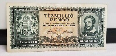 1945 10 Million Pengo Hungary Currency Unc Banknote Note Bank Post Wwii P-123