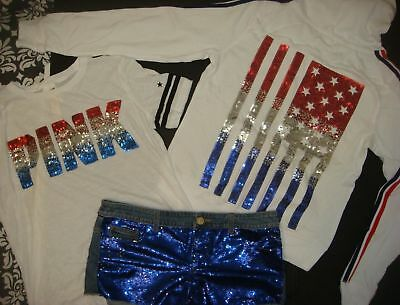 Victoria's Secret PINK sequin M HOODIE+SHIRT+6 SHORTS Blue White Red USA July 4