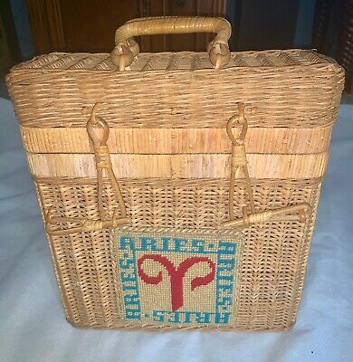 Vintage Zodiac Aries Astrology Embroidered Straw Basket Box Purse Large Bag 60s