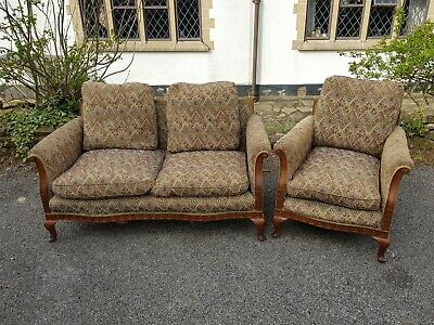 An Antique 2 Seater Upholstered Sofa & Armchair with Pretty Carved Wooden Frame