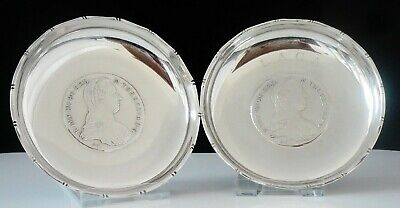 Pair of Chinese Export Silver Coin Dishes, WAI KEE, Maria Theresia Thaler 1780