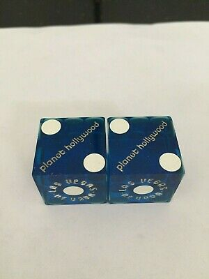 Pair of PLANET HOLLYWOOD LV Casino Dice - Clear Blue, Matching #s