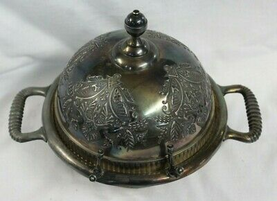ORNATE Rogers Bros Silver Co Domed Butter Dish Triple Plate Silverplated2118