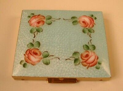 UNUSED Vintage Guilloche Blue Enameled with Roses Powder Compact Pocket Mirror