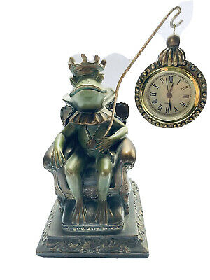 Figural Pocket Watch Holder Crowned Frog Prince King on Throne Mantel Clock