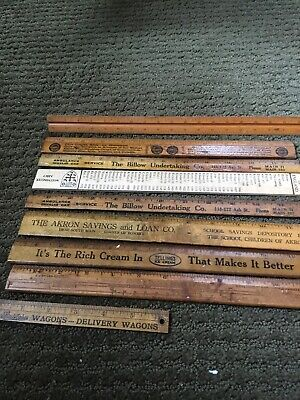 Vintage Lot 9 Wood Rulers School Drafting Old Advertising Studebaker