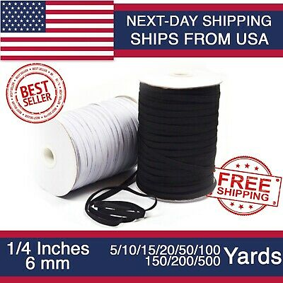 Elastic Band 1/4 inches width (6mm) White/Black 5 yard to 500 Yards