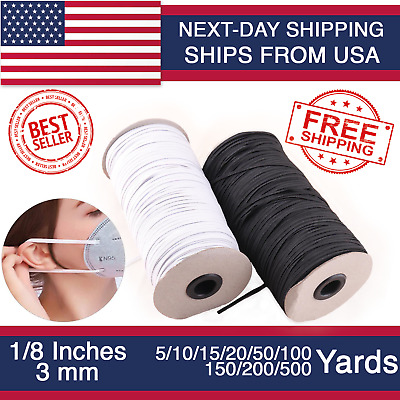 Elastic Band 1/8 inches width (3mm) White/Black 5 yard to 500 Yards