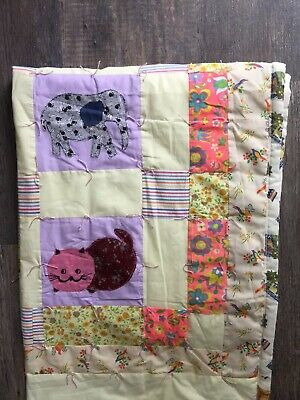 Handmade Baby Toddler Crib Quilt Blanket Cat Frog Elephant Flowers Birds Purple