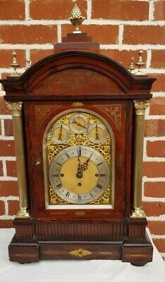 Antique 19thC English Rosewood Triple Fusee 8 Bell Musical Bracket Clock