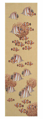 Exotic Fish Yellow European Jacquard Woven Tapestry Table Runner Home Decor