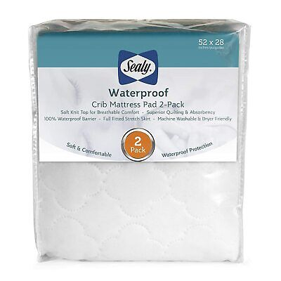 Sealy Waterproof Fitted Toddler and Baby Crib Mattress Pad Cover 2-Pack - 100%