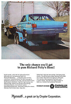 1966 RICHARD PETTY HEMI PLYMOUTH BELVEDERE Car Vintage Look REPLICA METAL SIGN