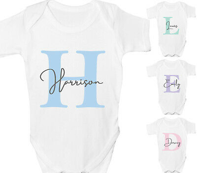 Personalised Baby Grow Vest Shower Gift Boys Girls Any Name Sleepsuit White