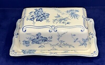 Coastline Imports Fine Porcelain Blue Toile Collection Covered Butter Dish