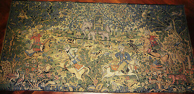 c1880 ANTIQUE INDIA flat weave PROFUSELY DESIGNED early HUNT SCENE TAPESTRY- RUG