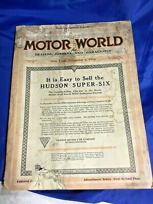 MOTOR WORLD Magazine Vintage December 1916 HUDSON SUPER SIX