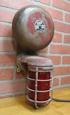 Old Industrial Alarm Bell Flashing Red Explosion Proof Lense Shade Fire Safety