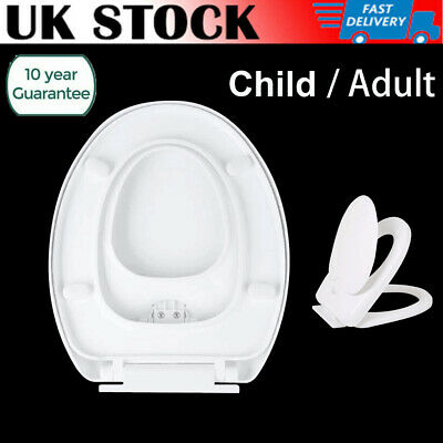 2-in-1 Family White Oval Toilet Seat Built-in Child Seat Kids & Adult Soft Close