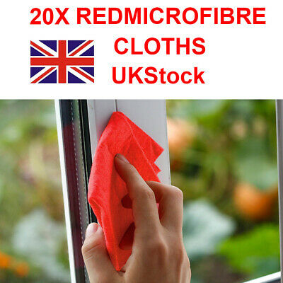 20x New Detailing Cleaning Car Soft Cloths  Microfibre Ultra Absorbant Red