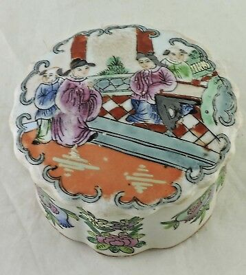Chinese Porcelain Box  & Cover Rose Medallion Famille Mandarin Figures Painted