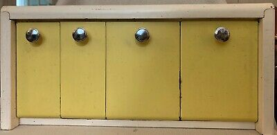 OLD RETRO CANISTER SET Metal Wall Mount or Counter Top Cream/Yellow MCM