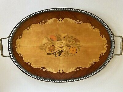 Sorrento Inlaid Wood Italian Marquetry Floral Oval Serving Tray with Handles