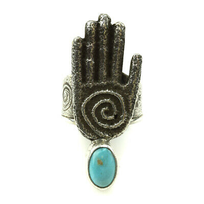 Joel Pajarito - Kewa Turquoise and Silver Ring with Hand Design, Size 8