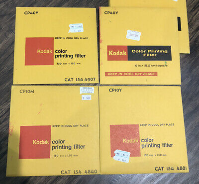 "13 Assorted Kodak Acetate Filter for Color Printing 6"" Square Some Sealed"