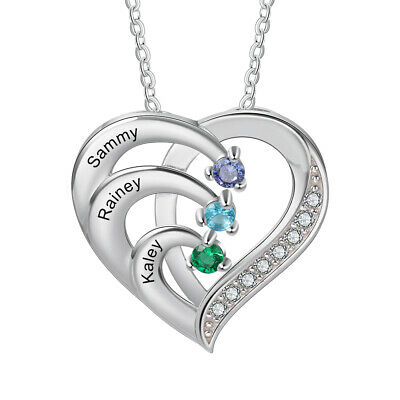 925 Silver Custom Names Women Necklace Birthstone Pendant Chain Mothers Day Gift
