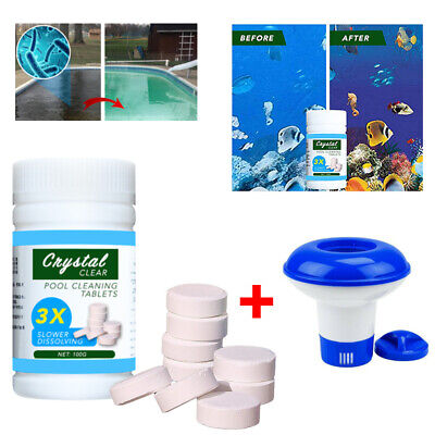 Pool Cleaning Tablet 100 Floating Chlorine Hot Tub Chemical Dispenser Cleaner
