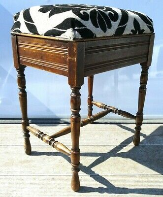 Antique Turned Piano Stool Oak? Early 20th century