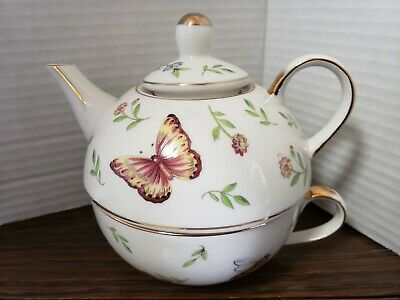 Adeline Fine Porcelain Tea For One Butterflies Bugs And Flowers
