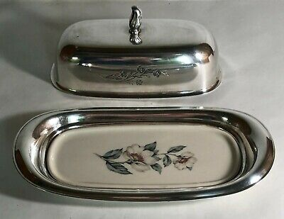 Roger Bros. Springtime Silverplate Butter Dish With Lid And China Insert