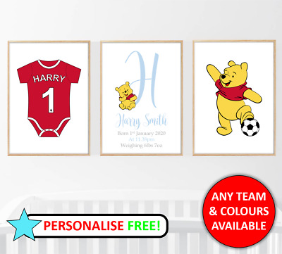 Liverpool Football Baby Boy Set of 3 Personalised Name Nursery Print Home Poster