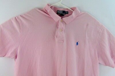 Ralph Lauren Pale Pink Mens Polo Size 2XL Short Sleeve Navy Blue Pony Emblem