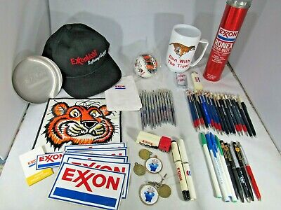 Lot EXXON Collection hat, ball, pens, cup, ashtray, exxon tiger patch