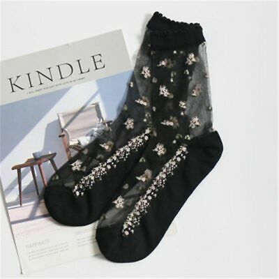 1 Pair Breathable Ultra Thin Socks Summer Women Transparent Lace Crystal Girls