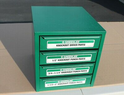 Greenlee Knockout Cabinet 7360SB Loaded Contents Punch, Die, & Draw Stud #729