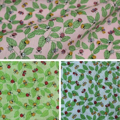 "Lovely Ladybirds Polycotton Fabric Pink- 45"" Wide"
