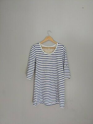 Anthropologie E By Eloise Womens Medium Tilda Dress Roll Button Sleeve Striped