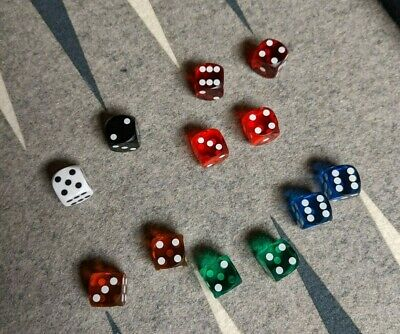 4x 14mm Dice CHOICE OF COLOURS Games Board Game Replacement Dices Backgammon CLR
